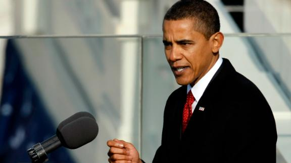 Then-President Barack Obama gives his inaugural address during his inauguration at the Capitol, January 20, 2009, in Washington.