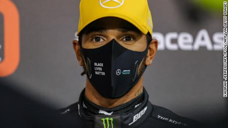 Lewis Hamilton looks on after the qualifying session at the Abu Dhabi Grand Prix.