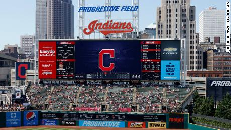 The scoreboard displays the Cleveland Indians' name as the team plays the Los Angels at Progressive Field on August 4, 2019, in Cleveland.
