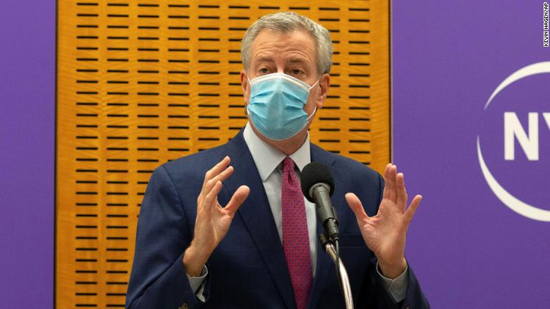 De Blasio says New York could face another shutdown due to rising Covid-19 infections