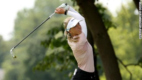 Popov hits a tee shot on the second hole during the final round of the Marathon LPGA Classic in 2020.