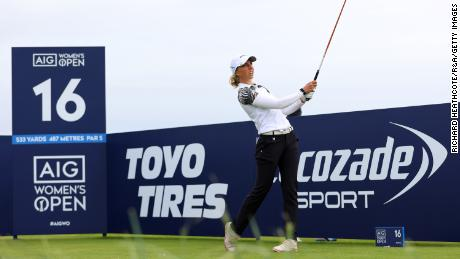 Popov plays her shot off the 16th tee during the final day of the Women's British Open.