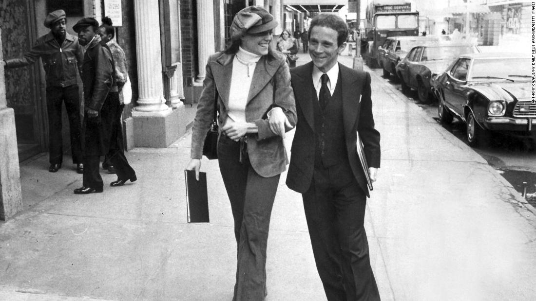 "Reinking and Joel Grey leave Sardi's restaurant in New York after receiving Tony Award nominations for 1975's ""Goodtime Charley."""