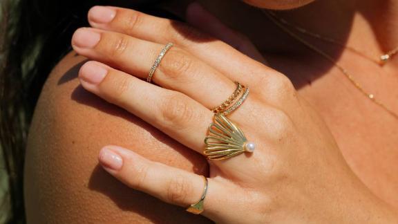 Aurate Deco Fan Pearl Ring