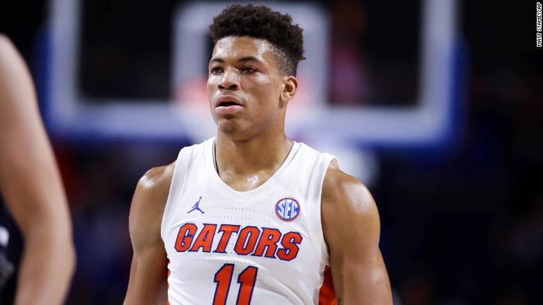 Florida Gators basketball player breathing on his own and talking after collapsing on court