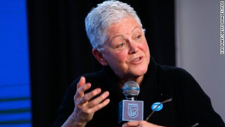 In this January 24, 2020, file photo, Gina McCarthy speaks at the EW x NRDC Sundance Film Festival Panel Series in Park City, Utah.