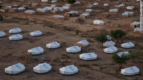 Part of the Umm Rakouba refugee camp, hosting people who fled the conflict in the Tigray region of Ethiopia, in Gedaref, eastern Sudan, on Monday, December 14.