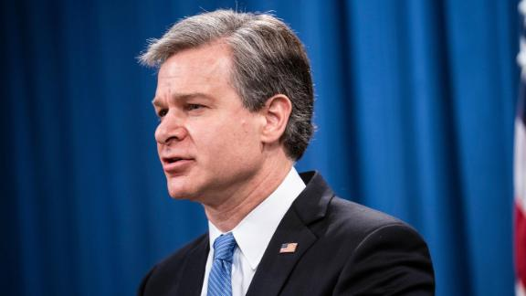 FBI Director Christopher Wray speaks during a virtual news conference at the Department of Justice on October 28, 2020 in Washington, DC.