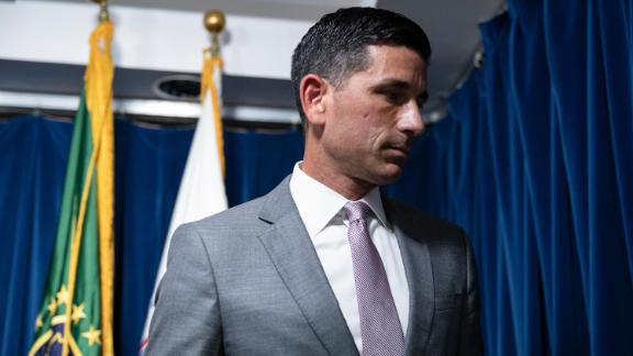 Secretary of Homeland Security Chad Wolf leaves following a press conference on the actions taken by Border Patrol and Homeland Security agents in Portland during continued protests at the US Customs and Border Patrol headquarters on July 21, 2020 in Washington, DC.