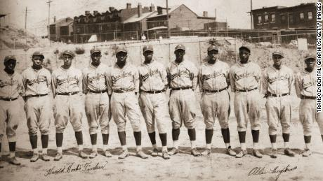 The Pittsburgh Crawfords baseball club poses for a photo in Ammon Field circa 1928. Hall of Famer Josh Gibson stands at far left.