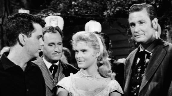 """Barker, right, appears on a 1960 episode of """"Bonanza"""" along with actors Jim Galante, Ken Mayer and Natalie Trundy."""