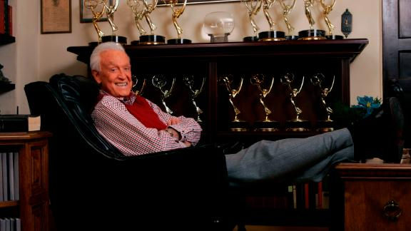 Barker relaxes next to his Emmy Awards in 2007. He also received a lifetime achievement Emmy in 1999.