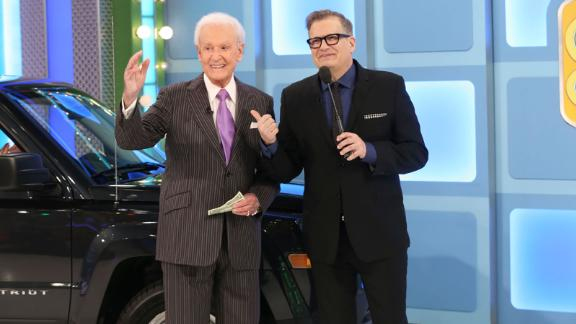 """Barker surprised viewers when he came out of retirement to appear on an episode of """"The Price Is Right"""" in 2015. At right is Drew Carey, who took over the show after Barker's retirement."""