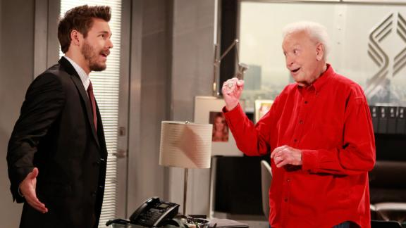 """Barker appears with Scott Clifton in an episode of the soap opera """"The Bold and the Beautiful"""" in 2014. It was his third appearance on the show."""