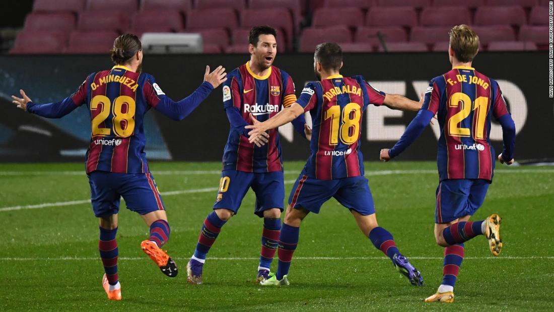 Barcelona wins on landmark night for Lionel Messi