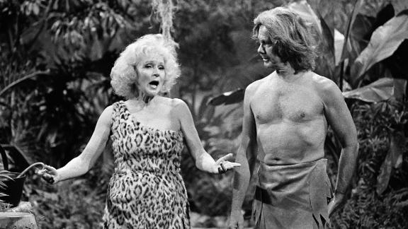 "White plays Jane opposite Johnny Carson in a Tarzan skit for ""The Tonight Show"" in 1981."