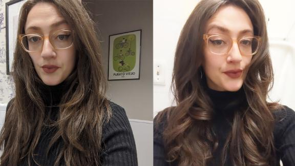 One of our reviewers before using the Dyson Airwrap (left) and after (right)