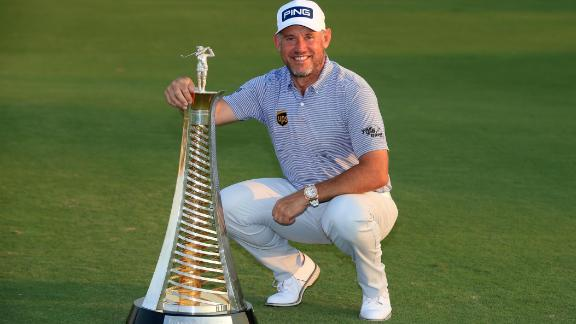 DUBAI, UNITED ARAB EMIRATES - DECEMBER 13: Lee Westwood of England poses with the Race to Dubai trophy during Day Four of the DP World Tour Championship at Jumeirah Golf Estates on December 13, 2020 in Dubai, United Arab Emirates. (Photo by Andrew Redington/Getty Images)