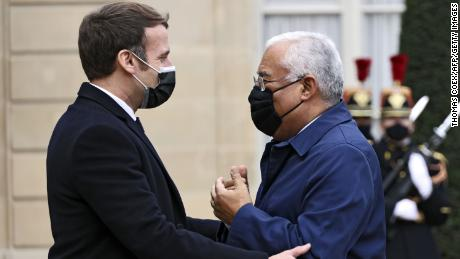 French President Emmanuel Macron at the Elysee Palace on Wednesday with Portuguese Prime Minister Antonio Costa, who is now in quarantine.