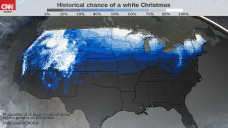 Chance Of White Christmas Map 2021 The Scientific Definition Of A White Christmas Cnn