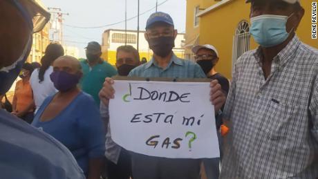 A protest for gas shortages in Punto Fijo, Venezuela on November 27.