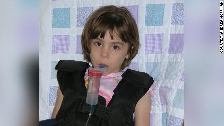 Six-year-old Andrea Hoffman in 2007 doing her airway clearance treatment at home.