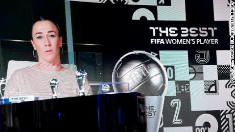 Lucy Bronze gives her acceptance speech via video link after winning the women's award.
