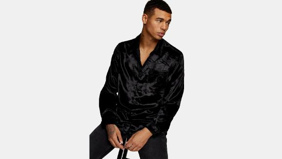 Topman Slim Fit Velvet Shirt