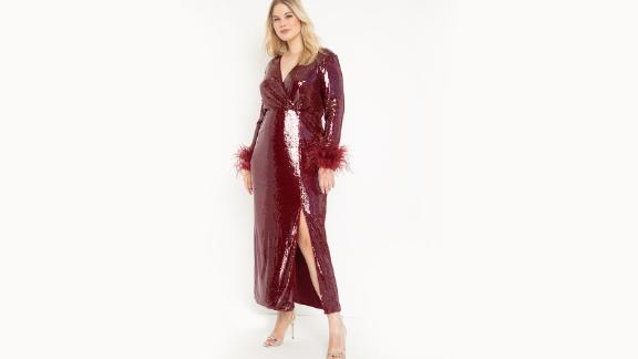 Eloquii Long Sequin Wrap Dress with Feather Cuff