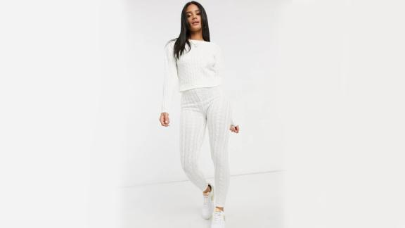 Femme Luxe Cropped Cable Knit Sweater and Skinny Legging Two-Piece