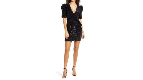 Saylor Fauna Sequin Black Velvet Minidress