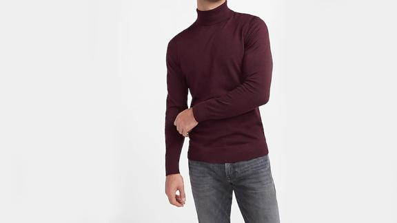 Express Solid Merino Wool-Blend Turtleneck Sweater