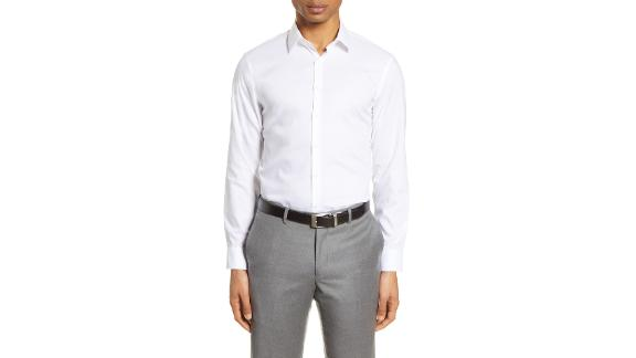 Nordstrom Extra Trim Fit Non-Iron Solid Stretch Dress Shirt