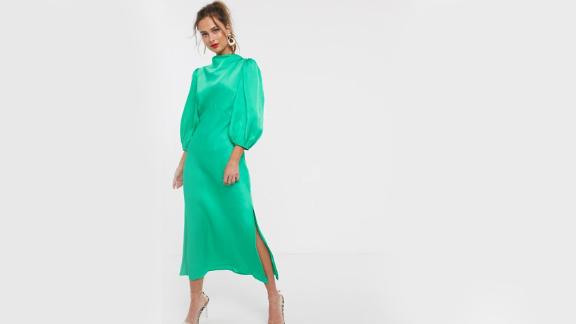 Asos Design Cowl Neck Satin Tea Midi Dress With Puff Sleeve