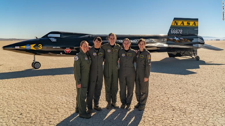 The women of class 2020A of the US Air Force Test Pilot School at Edwards Air Force Base.