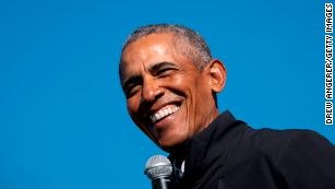 In this October 31, 2020, file photo, former President Barack Obama speaks at a campaign rally for Joe Biden in Flint, Michigan.