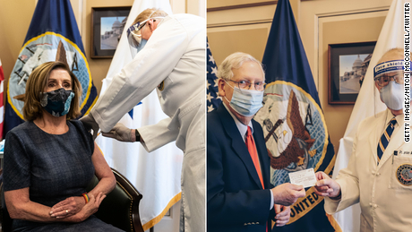 House Speaker Nancy Pelosi, left, and then-Senate Leader Mitch McConnell were vaccinated with their first dose in December.