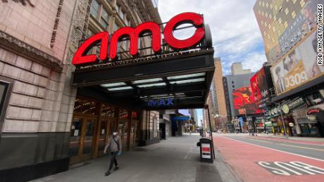 An AMC movie theater in Times Square remains closed during the coronavirus pandemic on May 3, 2020 in New York City.