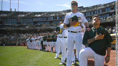 Bruce Maxwell kneels in protest on September 24, 2017.