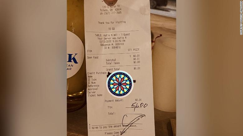 A customer at an Ohio restaurant left a $5,600 tip to split among the entire staff for Christmas