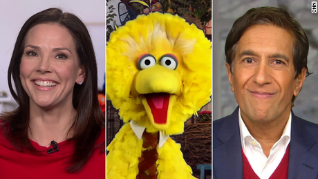 CNN's Erica Hill and Sanjay Gupta speak with Big Bird for a CNN and Sesame Street Covid-19 town hall on December 19, 2020.