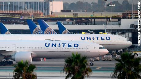 United Airlines aircraft on the tarmac at Los Angeles International Airport on October 1, 2020.