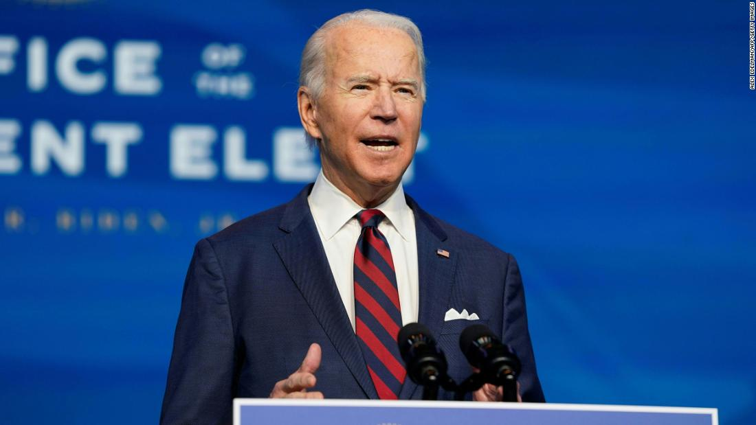 President-elect Joe Biden speaks during an event to introduce key members of his climate team in Wilmington, Delaware on December 19, 2020. Biden's climate plan calls for the US to generate 100% of its electricity from clean energy sources by 2035.