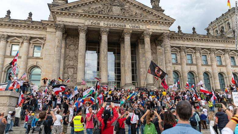 Demonstrators stormed the steps of the Reichstag in August.
