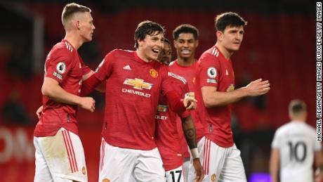 Victor Lindelof celebrates after scoring United's fourth goal.