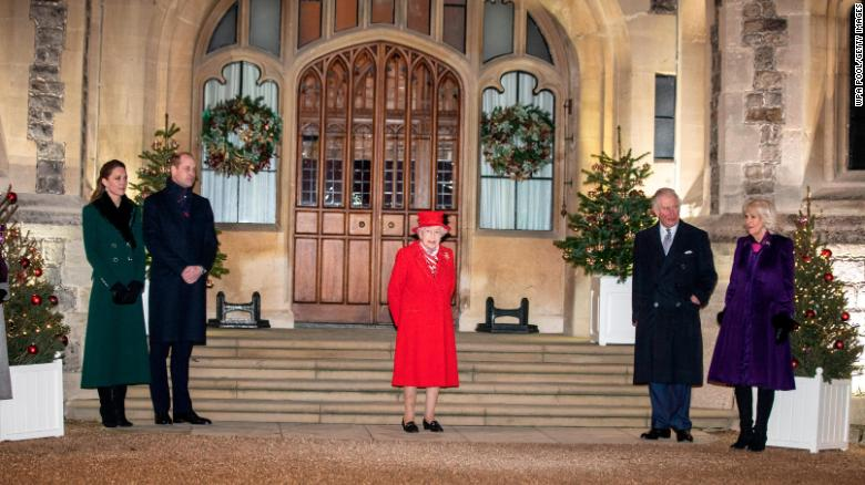 The Queen and members of the royal family gave thanks to local volunteers and key workers for their work in helping others during the coronavirus pandemic and over Christmas at Windsor Castle on December 8.