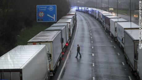 Access to the Eurotunal terminal was suspended after the Port of Dover was closed and trucks parked near Folkestone, Kent, and on its way to France said it would not accept any passengers arriving from Britain for 48 hours.