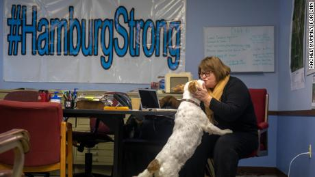 """""""We don't care what your label is, what your party is, if you're going to help us,"""" said Hamburg, Iowa, Mayor Cathy Crain, pictured here in her City Hall office this past January."""
