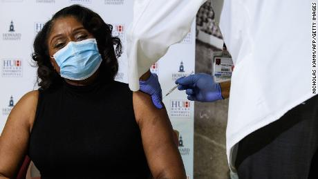 Anita Jenkins, CEO of Howard University Hospital, receives the Covid-19 vaccine in Washington, DC, on December 15.