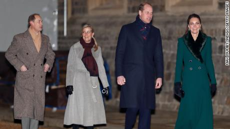 Prince Edward, Earl of Wessex; Sophie, Countess of Wessex; Prince William, Duke of Cambridge; and Catherine, Duchess of Cambridge pictured in Windsor on December 8.